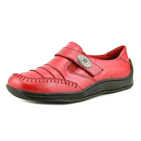Walking Cradles Bistro Women Round Toe Leather Red Loafer