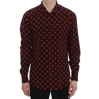 Dolce & Gabbana Black Red Polka SILK Sleepwear Shirt