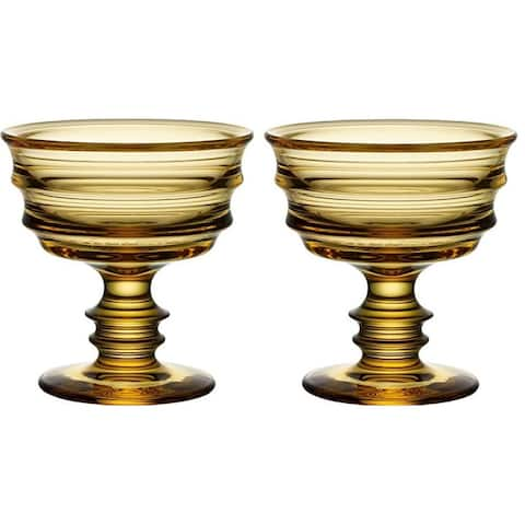 2 Pack Kosta Boda By Me Footed DecorativeServing Bowl - Amber