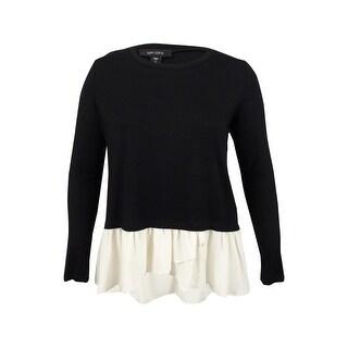 Karen Kane Women's Sheer Hem Long Sleeve Top (L, Black) - Black - l