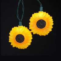 Set of 10 Yellow Sunflower Novelty Christmas Lights - Green Wire