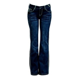 Cowgirl Tuff Western Denim Jeans Womens Dallas Whiskering Med