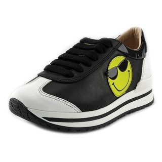 Ruthie Davis Smiley Toddler Round Toe Leather Black Sneakers