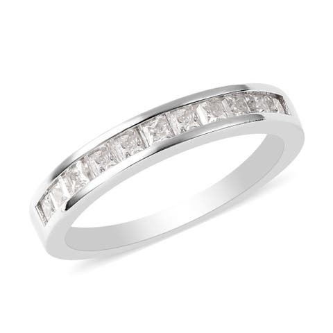 Shop LC 925 Sterling Silver Moissanite Band Engagement Ring Ct 0.6