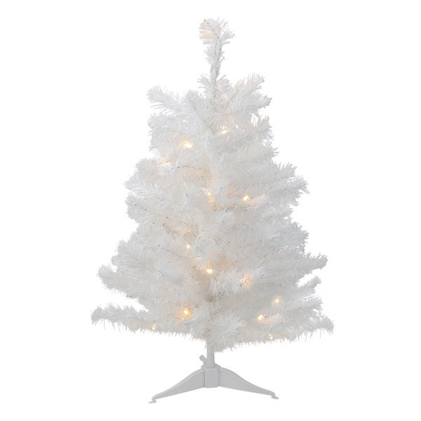 3' Battery Operated Pre-Lit LED White Pine Artificial Christmas Tree- Clear Light