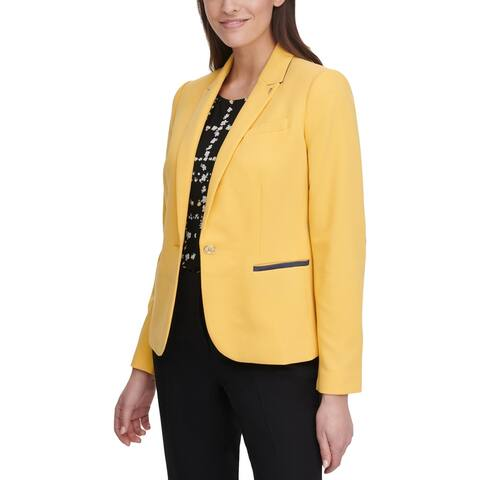 Tommy Hilfiger Womens One-Button Blazer Contrast Trim Professional - Yellow