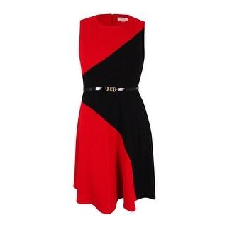 Calvin Klein Women's Colorblocked Sleeveless A-Line Dress (Black/Red, 12) - 12