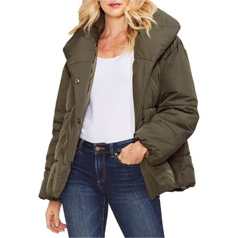 Vince Camuto Womens Matte Quilted Jacket, Green, Medium