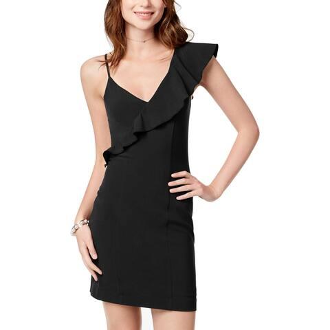 XOXO Womens Juniors Cocktail Dress Ruffled Sheath