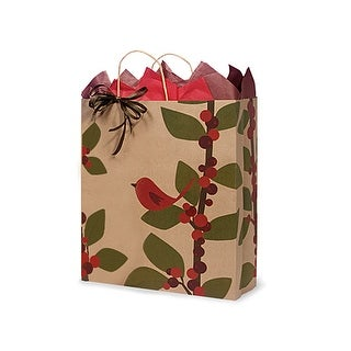 """Pack of 200, Queen Red Bird Berries 100% Recycled Paper Bags 16 x 6 x 19"""" For Christmas Packaging, ."""
