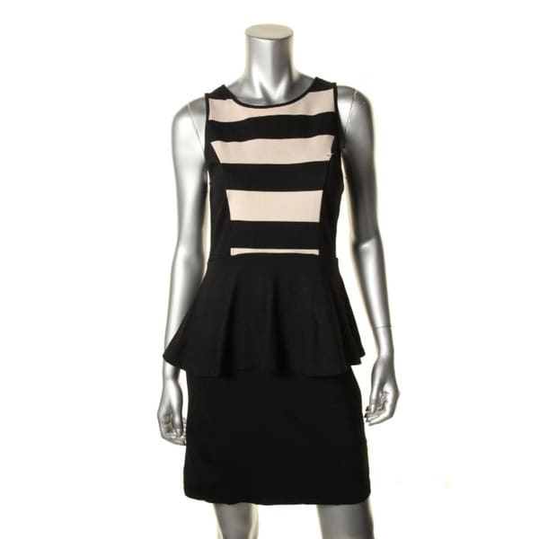 Kensie Womens Cocktail Dress Striped Peplum Free Shipping On