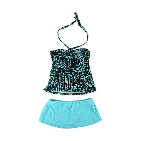 Island Escape Womens Animal Print Skirtini 2 Piece Bandini, blue, 6