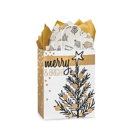 """Pack Of 250, Cub 8.25 X 4.75 X 10.5"""" Golden Holiday Trees Paper Recycled Shopping Bag Made In Usa"""
