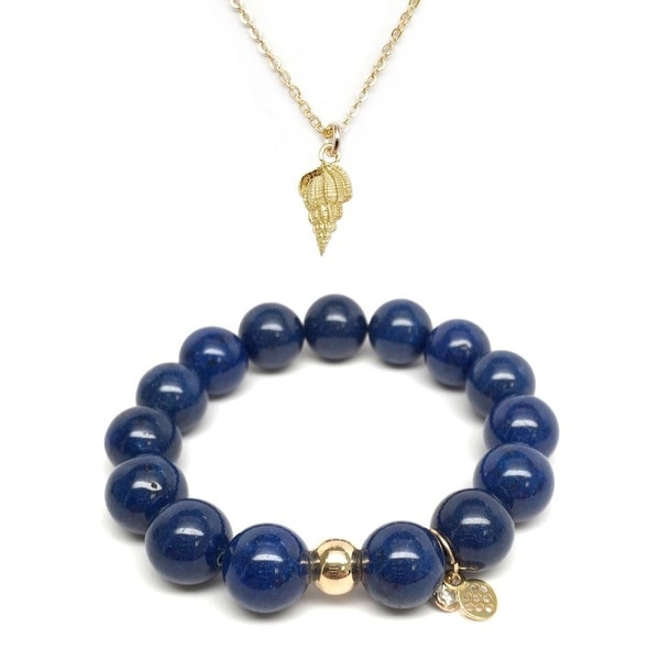 "Blue Jade 7"" Bracelet & Conchshell Gold Charm Necklace Set"
