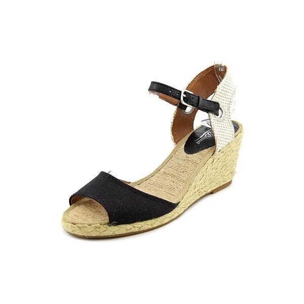 Lucky Brand Kyndra Women Open Toe Canvas Black Wedge Sandal