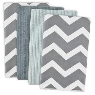 "Set of 4 Gray and White Chevron Design Ultra Absorbent Rectangular Dishtowels 16"" X 19"""