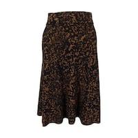 Alfani Women's Printed A-Line Knit Skirt - Black/brown - S