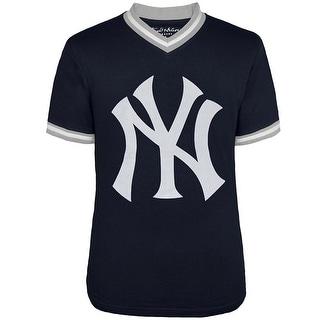 New York Yankees - Logo Eephus V-Neck Jersey T-Shirt - Blue