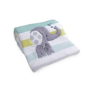 Lambs & Ivy Yoo-Hoo Blanket - Gray, White, Green, Animals, Jungle, Elephant, Boy, Girl, Neutral