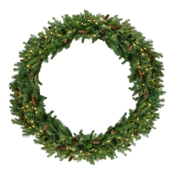 Pre-Lit Dakota Red Pine Commercial Artificial Christmas Wreath - 5-Foot, Warm White LED Lights - green