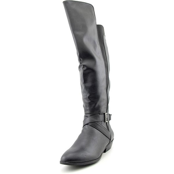 Madden Girl Synergyy Women Round Toe Synthetic Black Knee High Boot