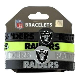 Oakland Raiders NFL Silicone Rubber Wrist Band Bracelet Set of 4