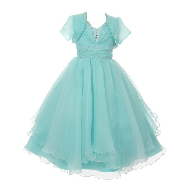 223523d65 Shop Chic Baby Little Girls Mint Ruffle Rhinestone Bolero Flower ...