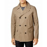 Tommy Hilfiger Beige Mens Size Medium M Double Breasted Peacoat