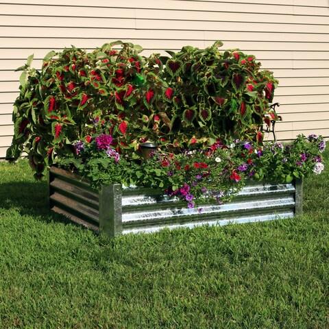 Sunnydaze Galvanized Steel Raised Garden Bed - 48-Inch Rectangle - 12-Inch Deep