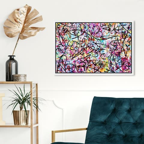 Oliver Gal 'Impii Autem Corruent by Tiago Magro' Abstract Wall Art Framed Canvas Print Paint - Pink, Black