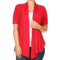Women Plus Size Short Sleeve Cardigan Casual Cover Up Red