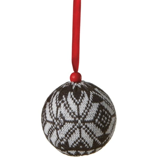 """3.5"""" Alpine Chic Black with White Snowflake Knit Nordic Design Christmas Ball Ornament"""