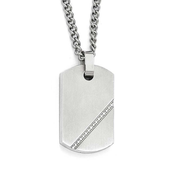Chisel Stainless Steel Small Brushed CZ Dogtag Necklace - 24 in