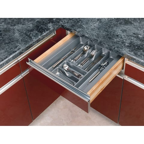 "Rev-A-Shelf GCT-3S-52 GCT Series Glossy Finish 17.5 x 21.25"" Cutlery Tray - Metallic Silver"
