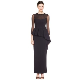 Teri Jon Beaded Sheer Sleeve Cascading Peplum Evening Gown Dress - 8