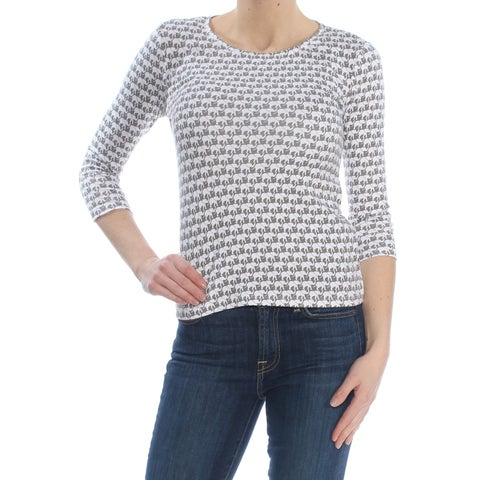 CHARTER CLUB Womens Gray Printed 3/4 Sleeve Jewel Neck Top Petites Size: XS