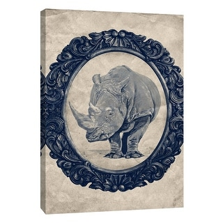 "PTM Images 9-105913  PTM Canvas Collection 10"" x 8"" - ""Framed Rhinoceros in Navy"" Giclee Rhinoceroses Art Print on Canvas"