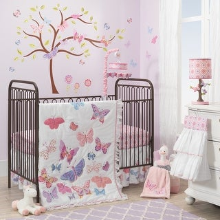 Lambs & Ivy Pink Butterfly Garden 8-Piece Nursery to Go Crib Bedding Set