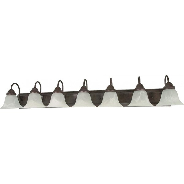 """Nuvo Lighting 60/292 Ballerina 7-Light 48"""" Wide Bathroom Vanity Light with Frosted Glass Shades - Old Bronze"""