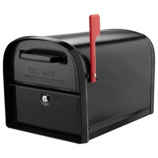 Architectural Mailboxes 6300  Oasis 36'0' Post Mount Locking Mailbox with Red Flag