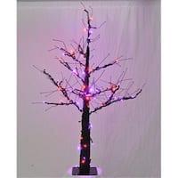 WL-DTR-4.5-LPU-OR Led Halloween Tree Purple And Orange Lights,