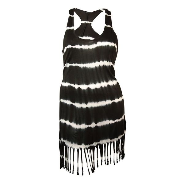 Raviya Women's Tie-Dyed Fringed Racerback Dress Cover-Up