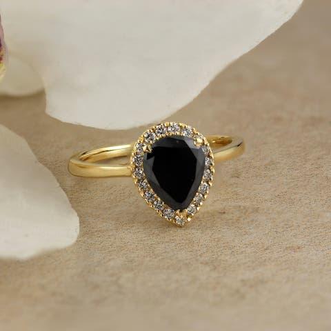 Auriya 14k Gold 1 2/3ctw Teardrop Pear-cut Black Diamond Halo Engagement Ring