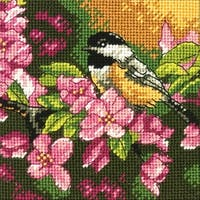 """Chickadee In Pink Mini Needlepoint Kit-5""""X5"""" Stitched In Thread"""