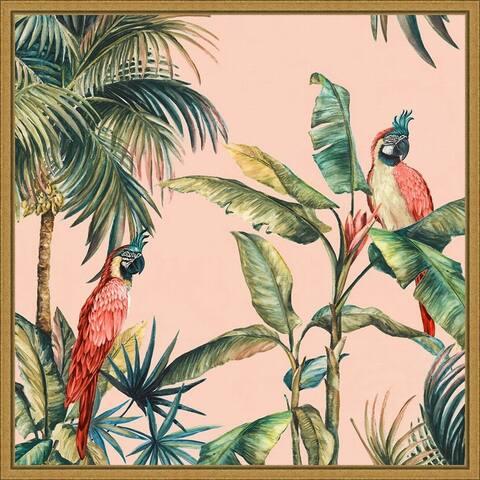 Tropicano II (Parrot in Palm) by Eva Watts Framed Canvas Art