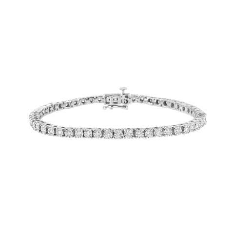 ".925 Sterling Silver 1.0 Cttw Miracle-Set Lab-Grown Diamond Tennis Bracelet (G-H color, VS1-VS2 clarity) - 7.25"""