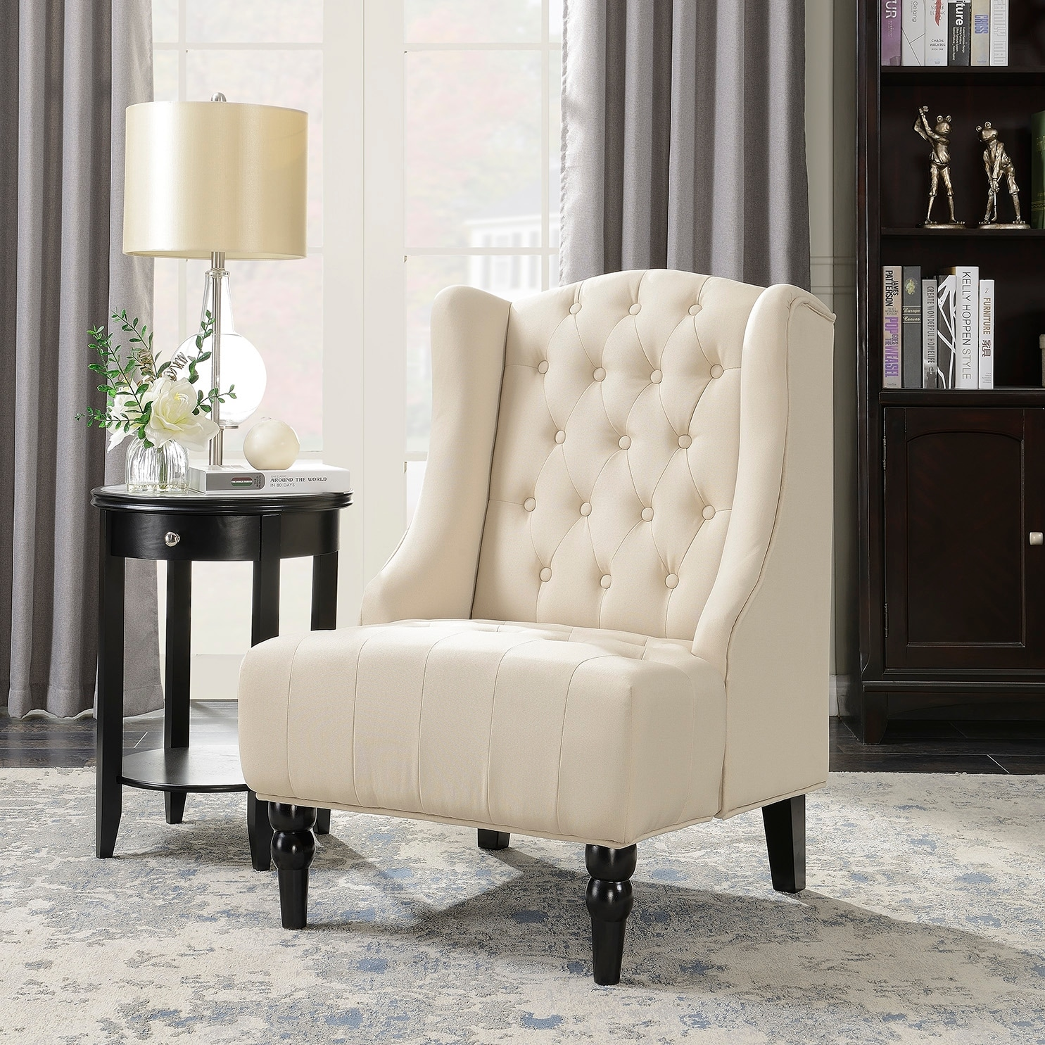Belleze Tall Wingback Tufted Fabric Accent Chair Tufted High Back With Nail Head Beige