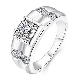 Crystal Frame White Gold Ring