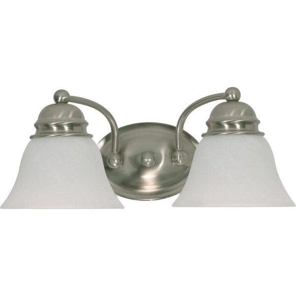 """Nuvo Lighting 60/341 Empire 2-Light 14-7/8"""" Wide Bathroom Vanity Light with Frosted Glass Shades - Brushed nickel"""