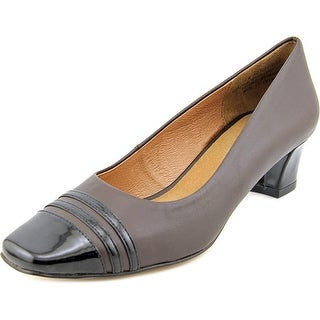 Auditions Classy Women N/S Square Toe Leather Brown Heels